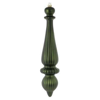 """2ct Vickerman 14"""" Matte Finial Drop, UV Coated Ornament Set Moss Green"""