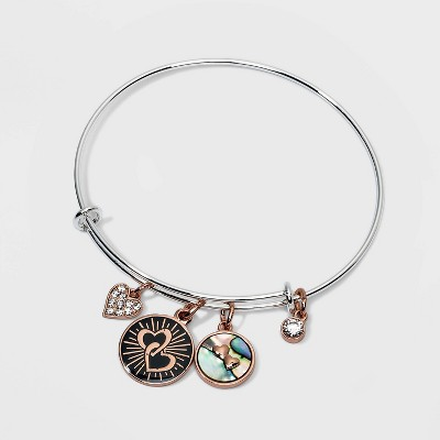 Silver Plated 'Mother & Daughter' Charm Cubic Zirconia and Abalone Bracelet - Silver