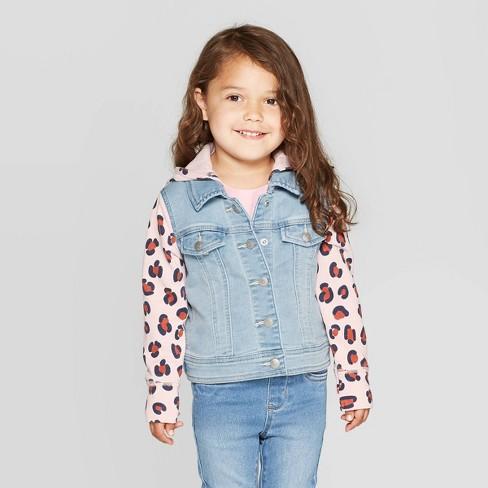Toddler Girls' Hooded Animal Print Denim Jacket - Cat & Jack™ Blue/Pink - image 1 of 3