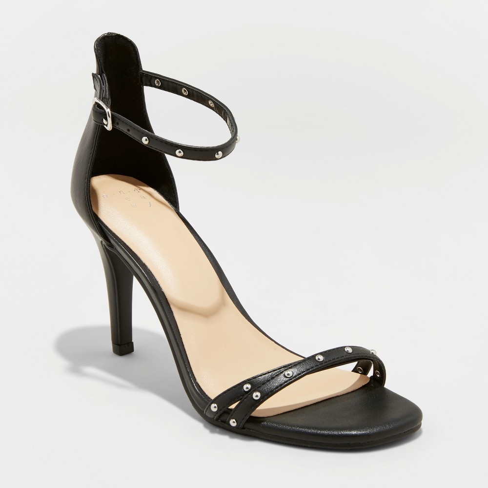 Women's Enya Studded Barely There Pump Heels - A New Day Black 5