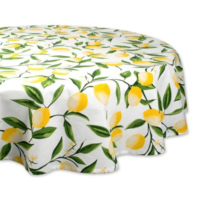 70  Round Lemon Bliss Print Tablecloth Yellow - Design Imports