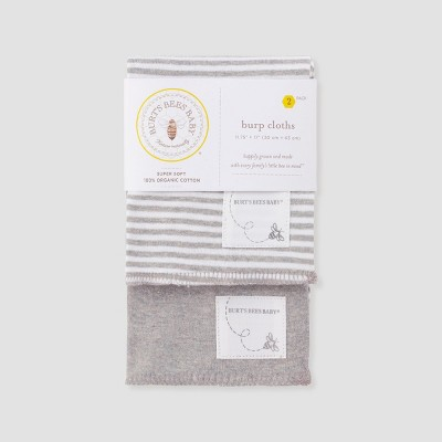 Burt's Bees Baby® Organic Cotton 2pk Burp Cloth Set - Heather Gray