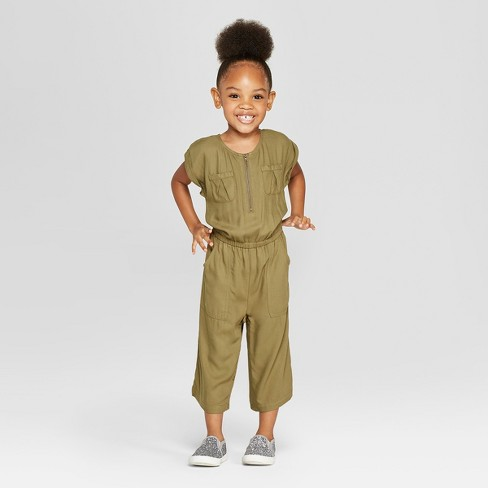 Toddler Girls' Bodysuit - Cat & Jack™ Olive - image 1 of 3