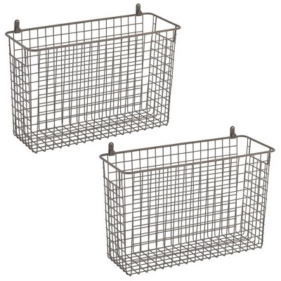 """mDesign Metal Wall Mount Hanging Basket Home Storage, 6"""" Wide, 2 Pack, Chrome"""