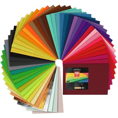 "Arteza Felt Fabric, Stiff, Assorted Colors, 8.3"" x 11.8"" Sheets, Set of 50"