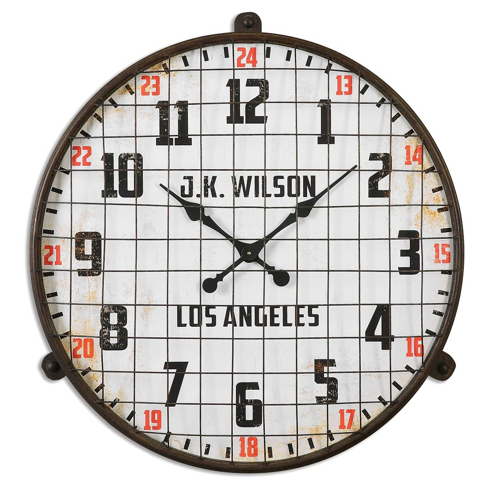Max Aged Wall Clock White/Bronze - Uttermost