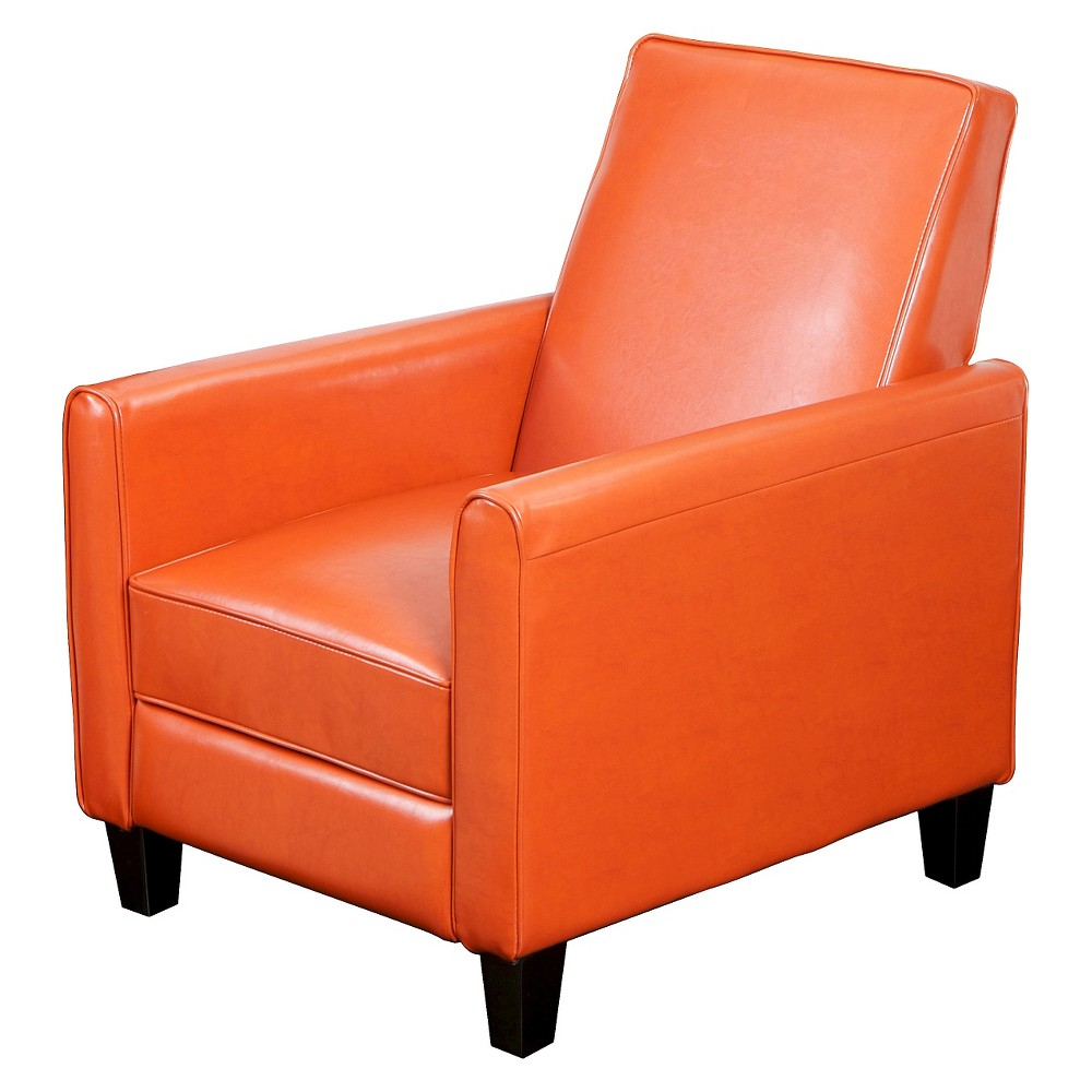 Darvis Polyurethane Leather Recliner Club Chair - Orange Leather - Christopher Knight Home, Burnt Orange