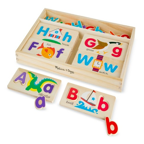 Melissa & Doug® ABC Picture Boards - Educational Toy With 13 Double-Sided Wooden Boards and 52 Letters - image 1 of 3