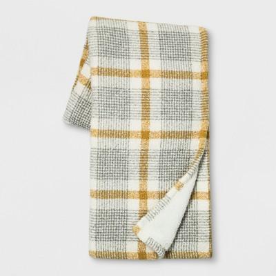 60 x50  Plaid Boucle Throw Blanket Gold - Threshold™