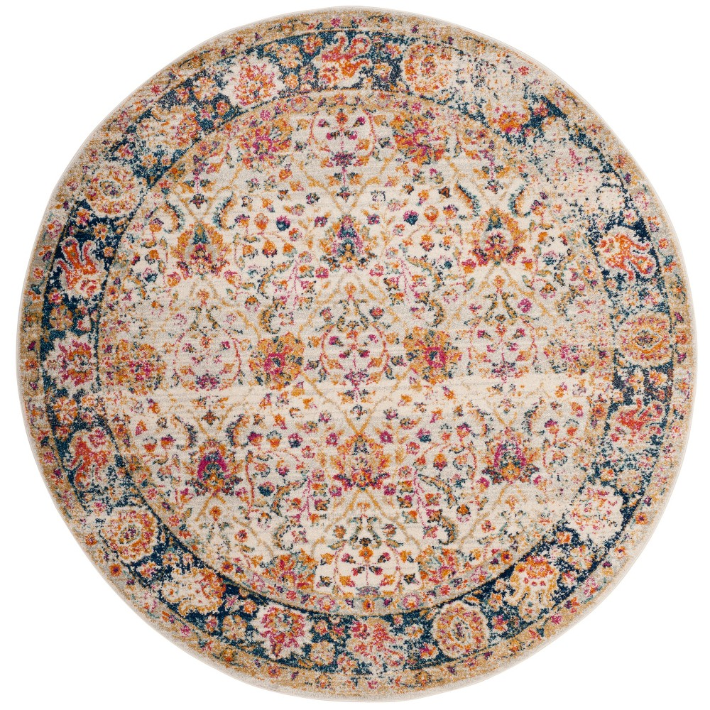 6'7 Floral Loomed Round Area Rug Cream/Navy (Ivory/Blue) - Safavieh
