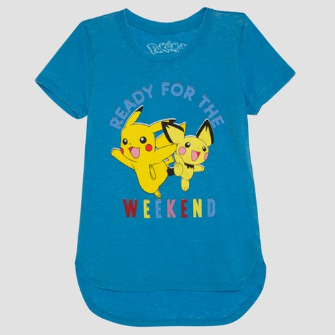2300ead4 Girls' Pokemon Ready for the Weekend Short Sleeve Graphic T-Shirt - Blue