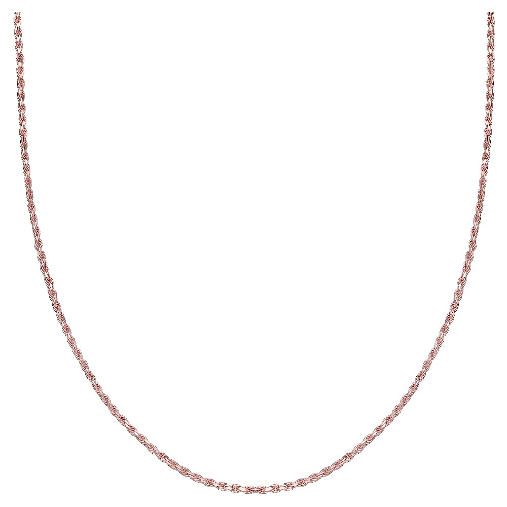 Women's Rope Chain Necklace in Rose Gold over Sterling Silver - Rose (18)