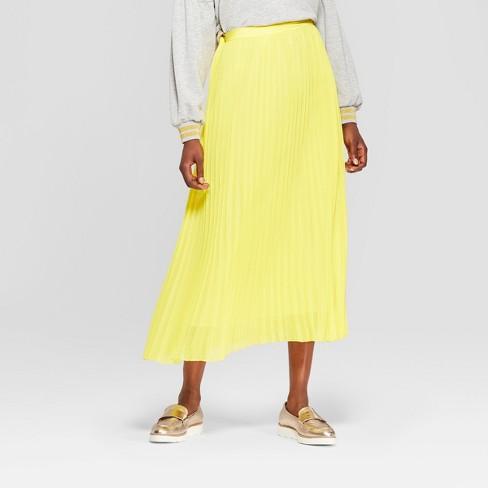 72222cf7f917 Women s Disney Princess Belle Pleated Midi Skirt - Yellow   Target