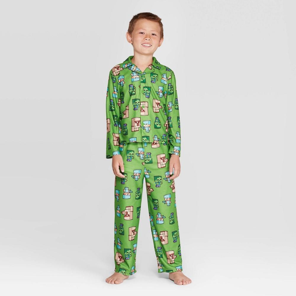 Image of Boys' Minecraft 2pc Coat Pajama Set - Green 10, Boy's
