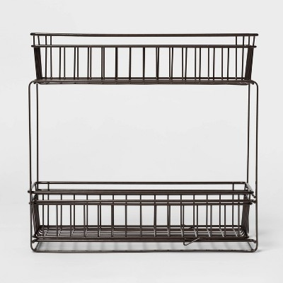 2 Tier Slide Out Storage Rack Slim Bronze - Threshold™