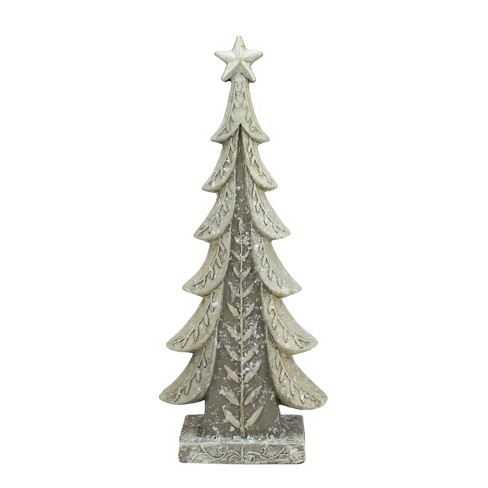 "Raz Imports 17.5"" Vintage Inspired Distressed Cream and Taupe Christmas Tree Table Top Decoration - image 1 of 1"