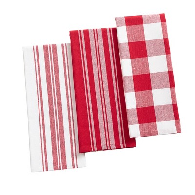 "Farmhouse Living Stripe and Check Kitchen Towels, Set of 3 - 17"" x 28"" - Elrene Home Fashions"