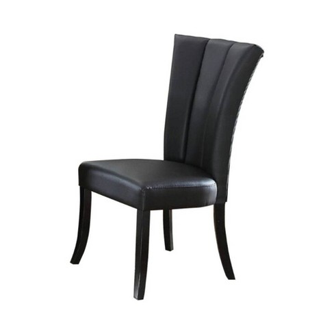 Set Fo 2 Leather Upholstered Dining Chair In Poplar Wood Black Benzara Target