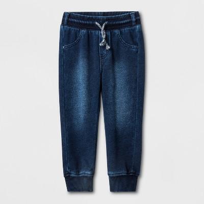 Toddler Boys' Adaptive Knit Dark Wash Denim Jogger Pants - Cat & Jack™ Blue 2T