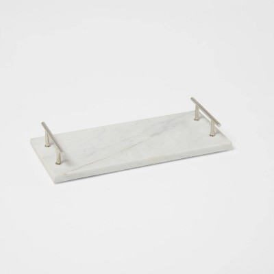 """14"""" x 6"""" Marble Serving Tray with Metal Handles White - Threshold™"""