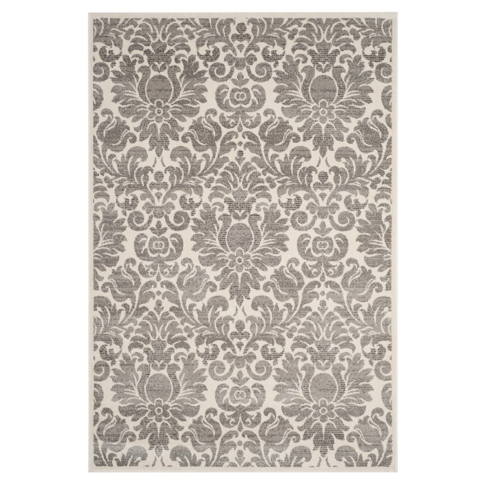 Gray/Ivory Floral Loomed Area Rug 6'7