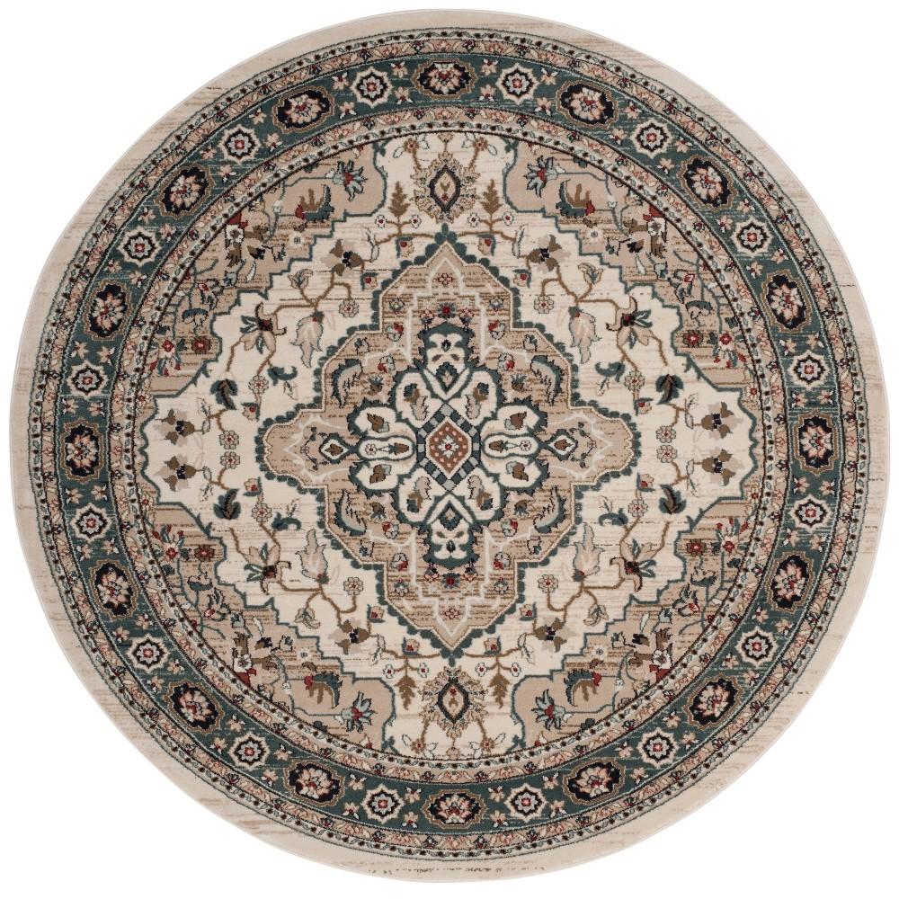 7' Medallion Loomed Round Area Rug Cream/Beige (Ivory/Beige) - Safavieh