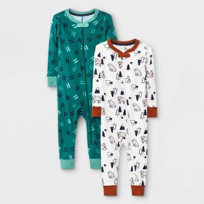 Baby Boys' 2pk Bandana Bear Snug Fit Pajama Romper - Cat & Jack™ Green/White