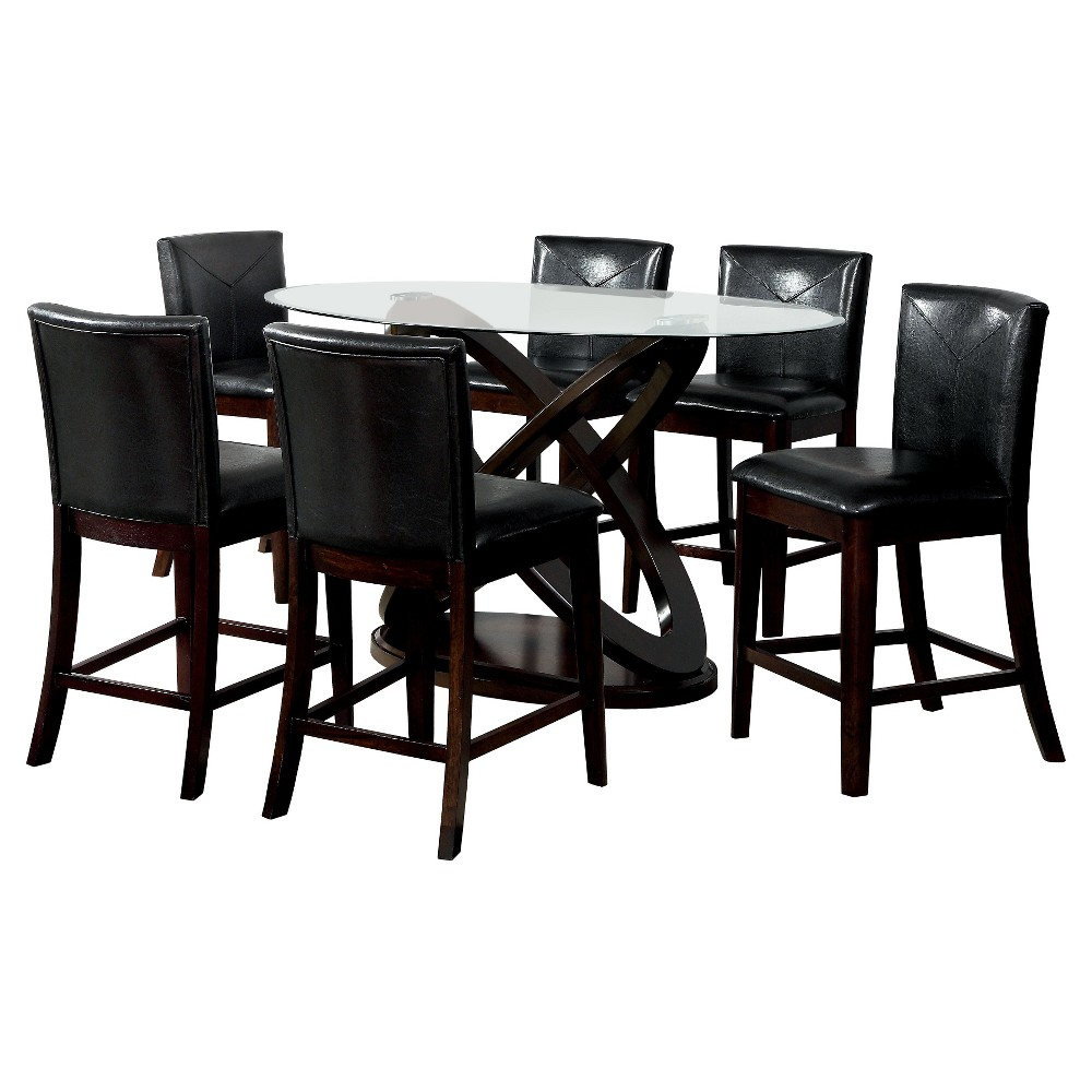 ioHomes 7pc X-Crossed Base Glass Table Top Counter Dining Table Set Wood/Dark Walnut