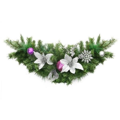 Northlight 30 Unlit Silver Poinsettia Eucalyptus And Purple