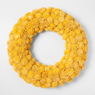 "21.2"" Sola Wood Flower Wreath Yellow - Smith & Hawken™"