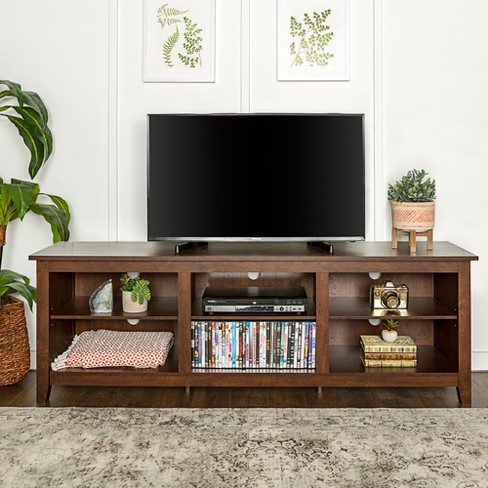 70 Wood Media Tv Stand Storage Console Traditional Brown Saracina Home
