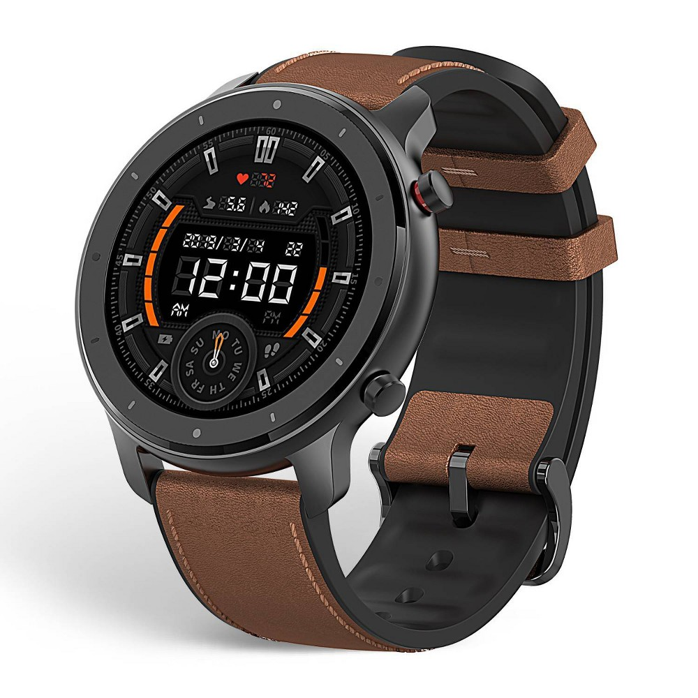 Amazfit Gtr Smartwatch 47mm Aluminum Alloy W Brown Leather Strap