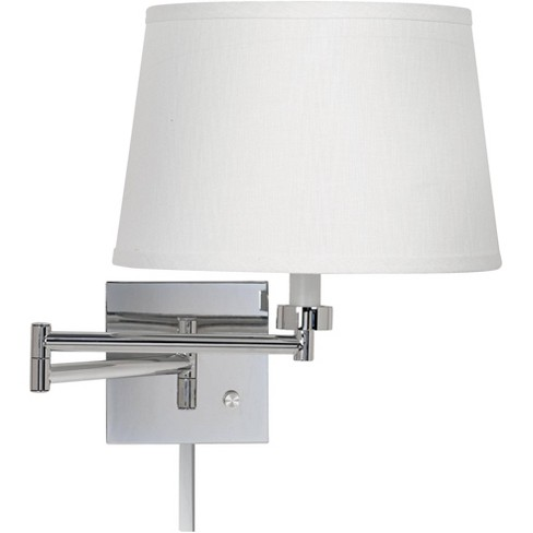 Possini Euro Design Modern Swing Arm Wall Lamp with Cord Cover Chrome Plug-In Light Fixture White Linen Shade for Bedroom Reading - image 1 of 2
