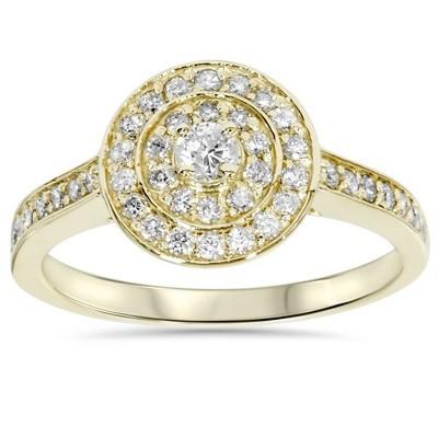 Pompeii3 1/2ct Diamond Double Halo Engagement Ring 10K Yellow Gold