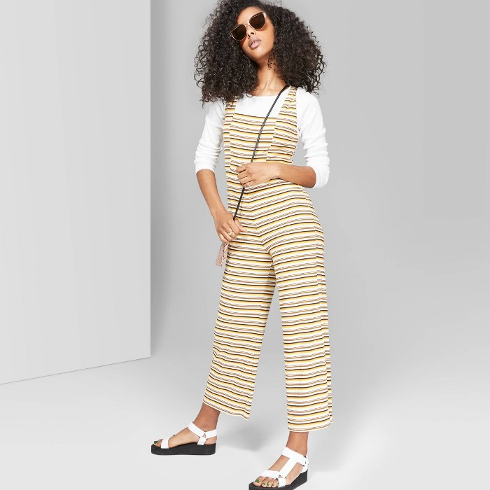 Women's Striped Strappy Square Neck Knit Jumpsuit - Wild Fable™ - image 1 of 3
