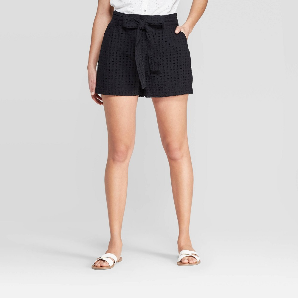 Women's High-Rise Eyelet Shorts - A New Day Black 10
