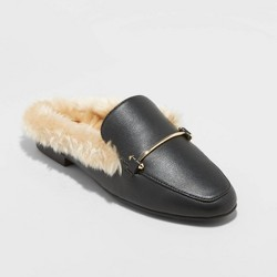 Women's Rebe Faux Leather Fur Backless Mules - A New Day™ Black