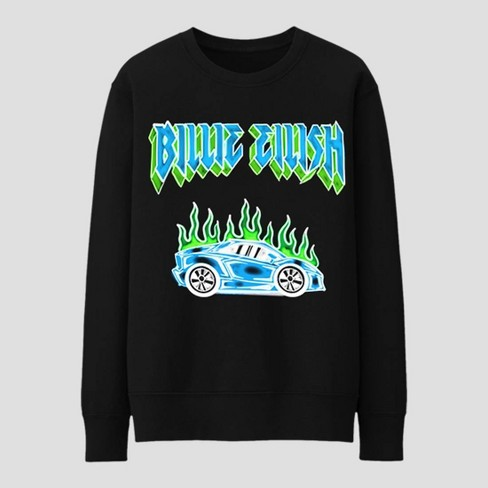 Adult Billie Eilish Flaming Car Long Sleeve T-Shirt - Black - image 1 of 2