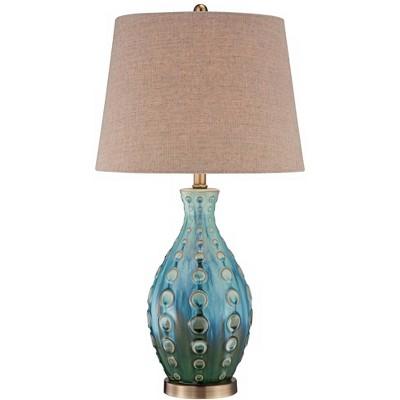 360 Lighting Mid Century Modern Table Lamp Vase Teal Handmade Tan Linen Tapered Drum Shade for Living Room Family Bedroom Bedside