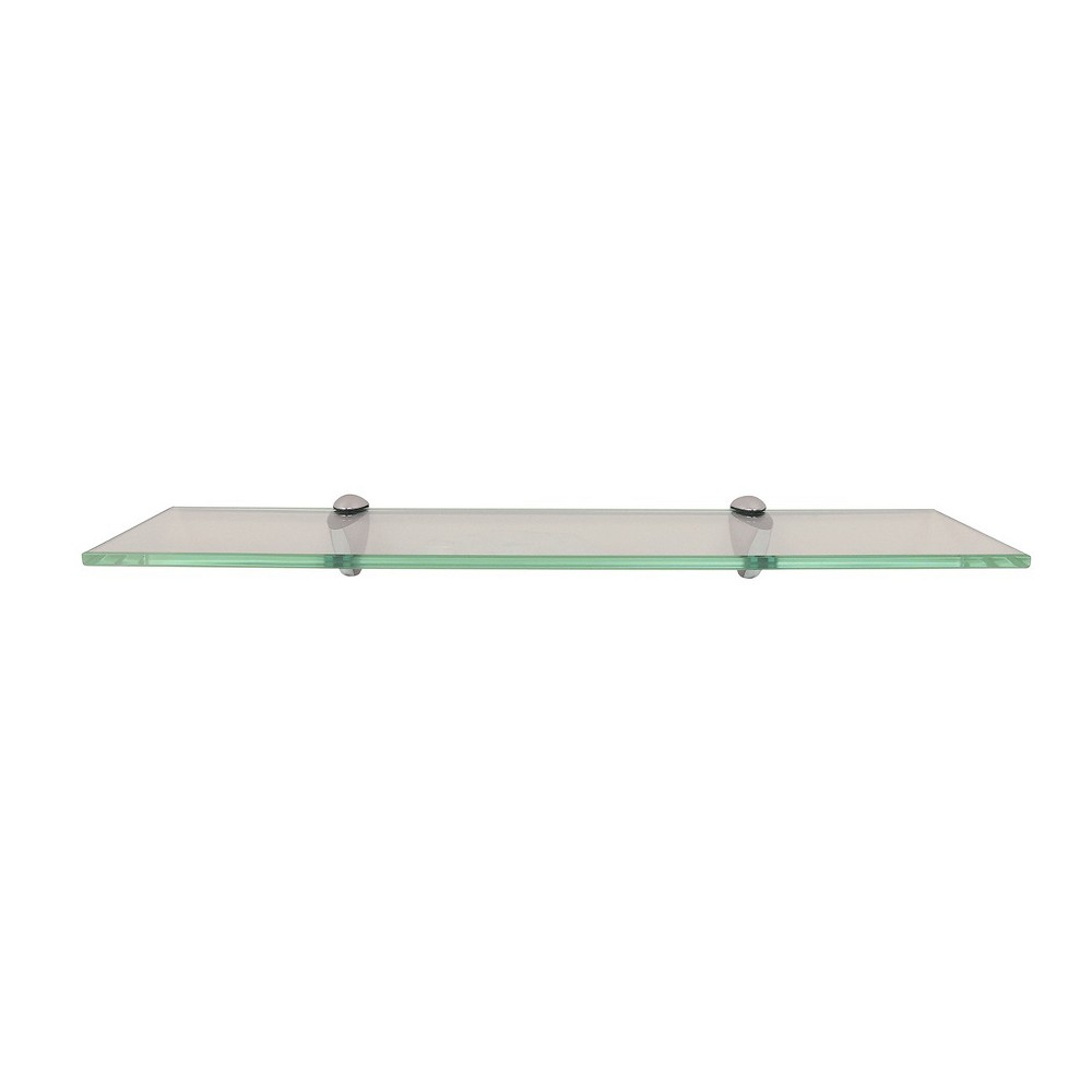 "Image of ""24"""" x 6"""" Glass Wall Shelf with Silver Brackets - InPlace"""