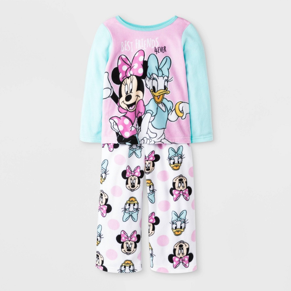 Image of Toddler Girls' 2pc Minnie Mouse Fleece Pajama Set - Blue/Pink/White 3T, Girl's