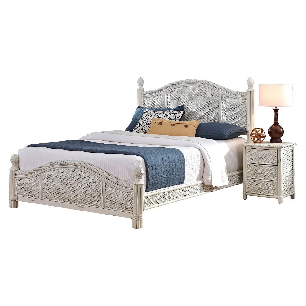Marco Island Bed and Night Stand (King), White