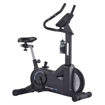 Sportop U60 Indoor Comfortable Home Workout Bike Stationary Fitness Cycler Exercise Machine with 12 Pre Programmed Trainings and Monitor Screen, Black