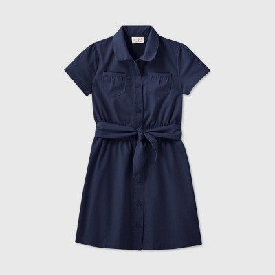 Girls' Short Sleeve Uniform Safari Dress - Cat & Jack™ Navy
