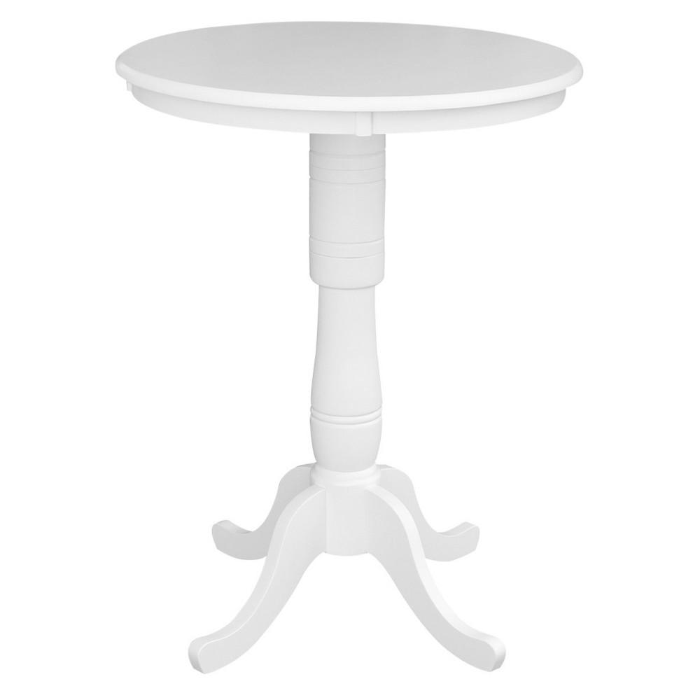 Morgan 42 Round Top Pedestal Table - White - International Concepts