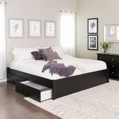 King Select 4 - Post Platform Bed with 4 Drawers Black - Prepac