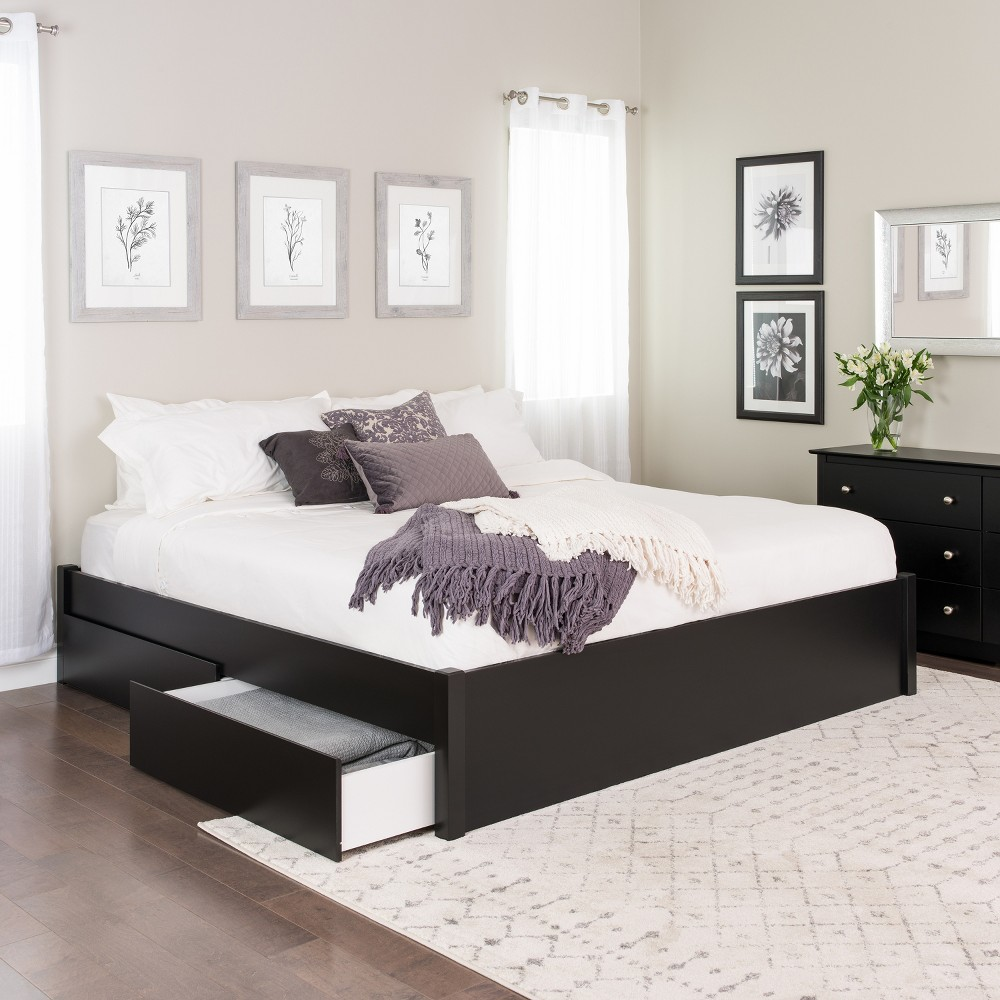 King Select 4 - Post Platform Bed with 2 Drawers Black - Prepac