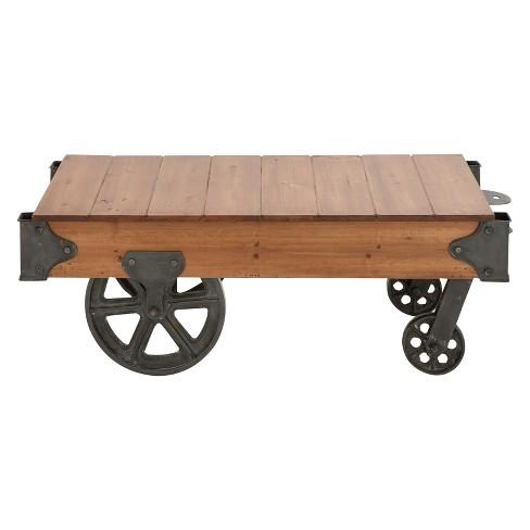 Wood And Metal Cart Coffee Table Natural Olivia May