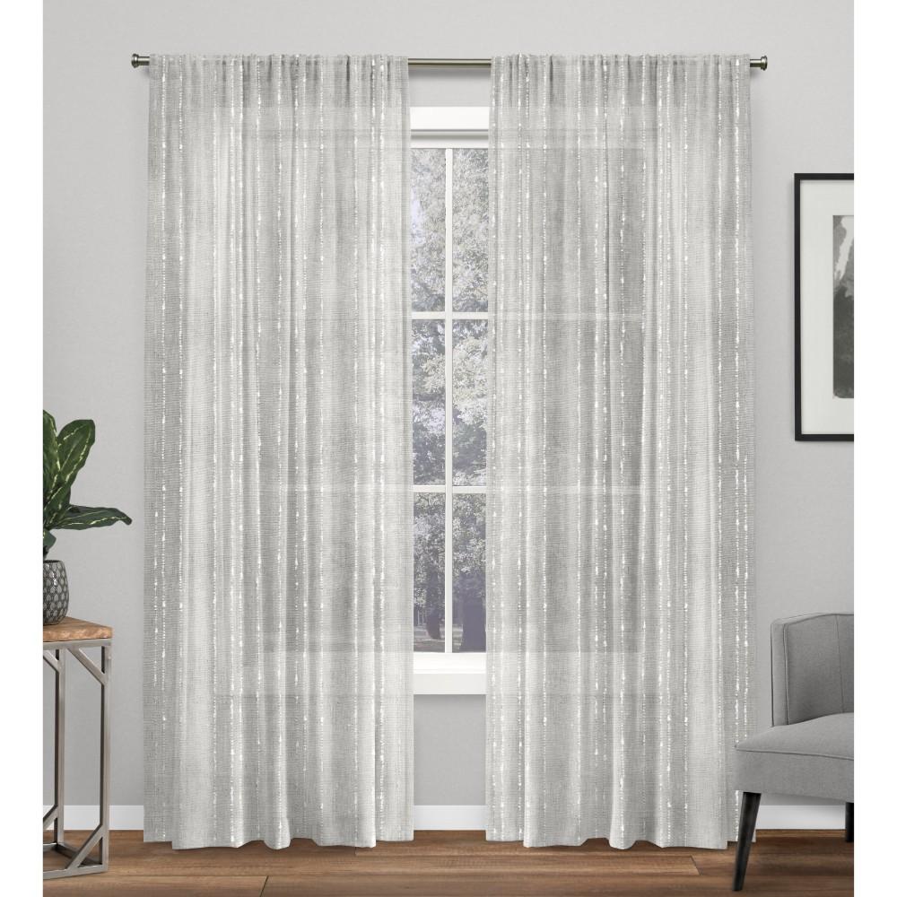 Set Of 2 84 34 X54 34 Muskoka Teardrop Slub Embellished Hidden Tab Top Curtain Panel Light Gray Exclusive Home
