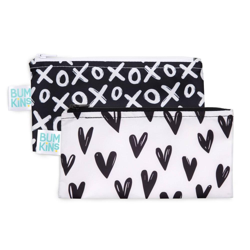 Image of Bumkins Reusable Snack Bag 2-Pack Hearts/XOXO